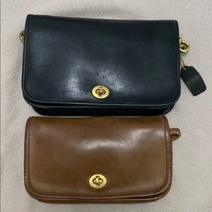 Vintage: 2 Coach Classic Bags Black & British Tan